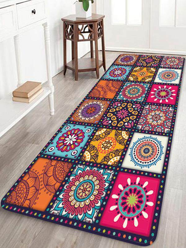 Finether Bohemian Style Floral Pattern Water Absorption Rug