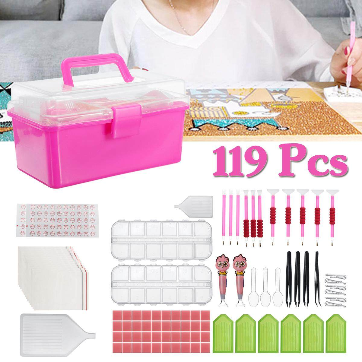 119Pcs Diamond Painting Tool Kit Suit Kit Hand Embroider Cross Stitch Accessory