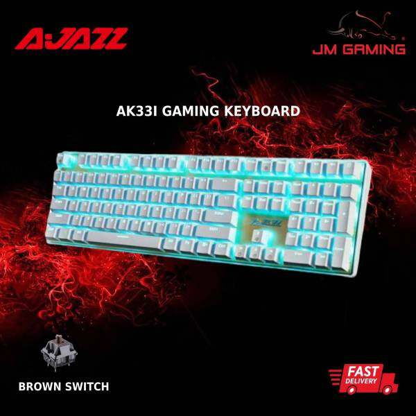 AJAZZ Gaming Keyboard AK33I LED BACKLIT WIRED MECHANICAL GAMING KEYBOARD GOLD USB PLUG Computer Keyboard , 1 year warranty,dota2,league of legend,cs go overwatch,mobile legend,pc gaming  BLACK / WHITE Malaysia