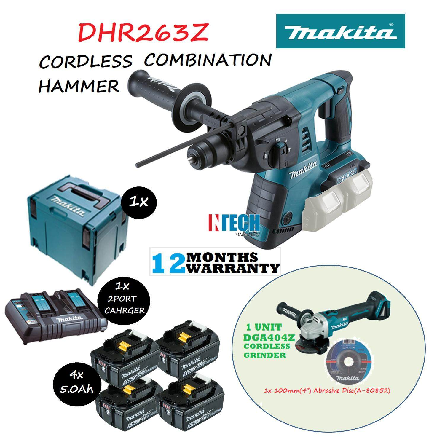 MAKITA DHR263Z CORDLESS COMBINATION HAMMER C/W 4x5.0AH BATTERY+1x2PORT MULTI FAST CHARGER+MAKPAC CONNECTOR CASE