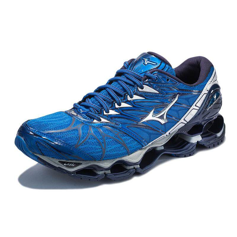 best service 7a27a 65fdf Mizuno Wave Men Running Shoes Blue Silver-Navy J1GC180004 US7-9