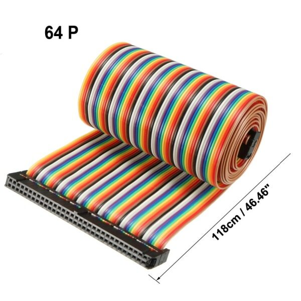 1pcs IDC 64 Pins Rainbow/Gray 118/128/130/148cm Length 2.54mm Pitch Flexible Dupont Flat Jumper Cable Ribbon With Socket