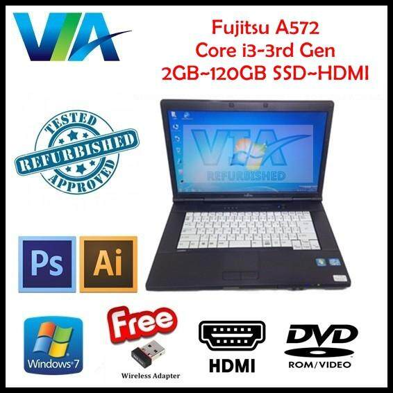 Refurbished Laptop Fujitsu A572/F Core i3~2GB~120GB SSD~Win7 Pro~(Free Black Keyboard Rubber) Malaysia