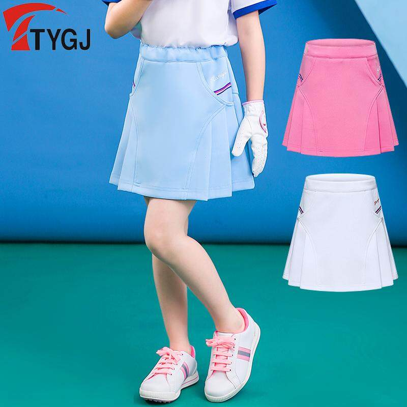 Golf Childrens Clothing Girls Half-Length Pleated Skirt Elastic Waist Medium Large Childrens Sports Casual Anti-Lighting Skirt By Global Dzh Franchise Stores.