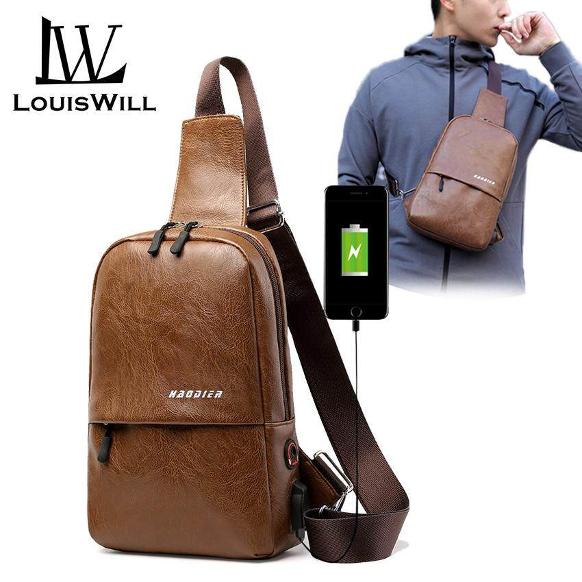 bd9110b8a LouisWill Crossbody Bag Men Chest Bags USB Charging Sling Bags Back Pack  Lightweight Waterpoof Daypacks Casual