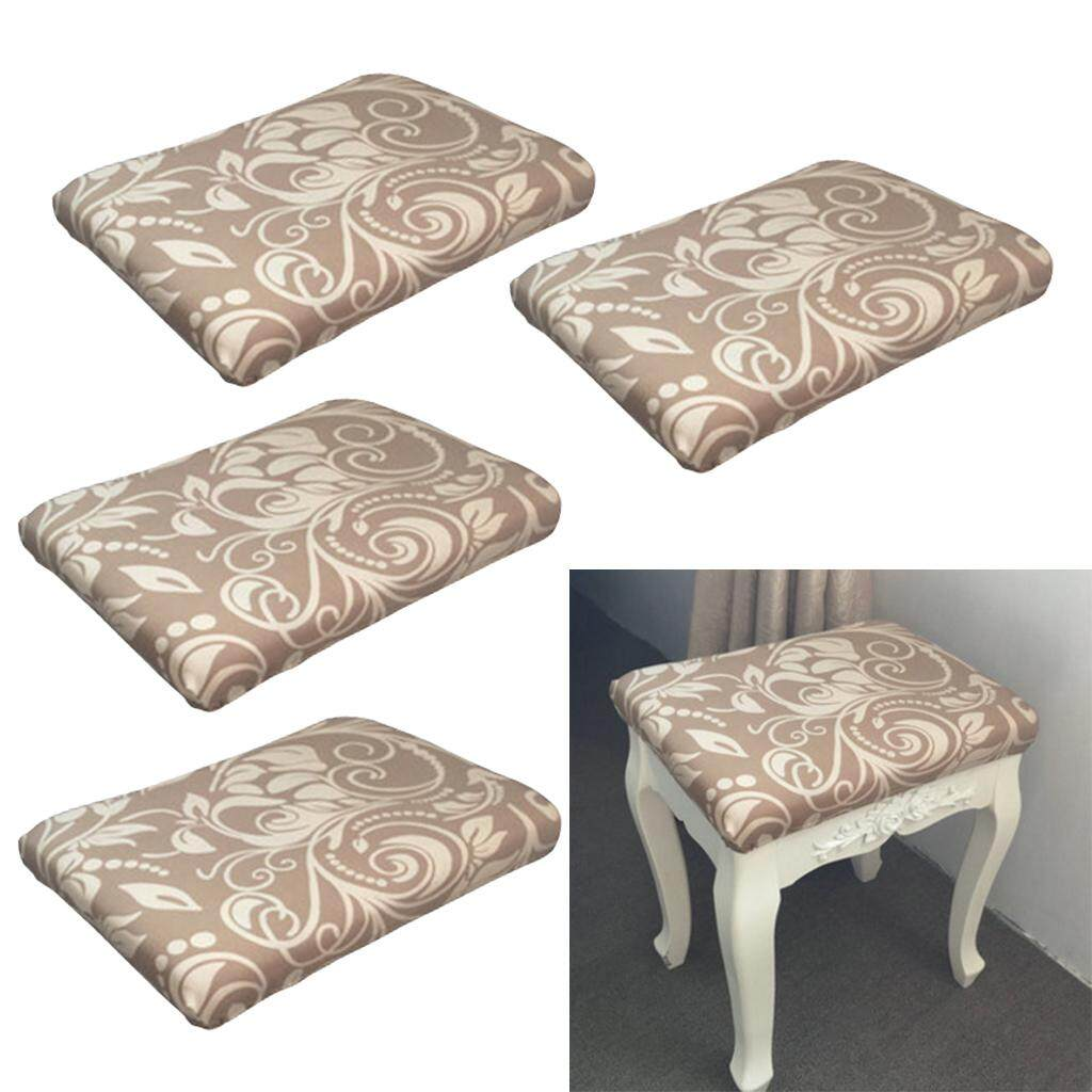 Perfk 4 Pcs Stool face dust cover dressing table stool set Chinese style Flower 3