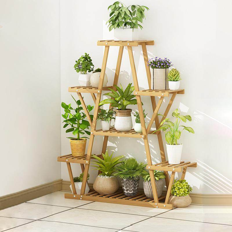 Plants Shelf Planter Bamboo Rack Urns For House By Olive Al Home
