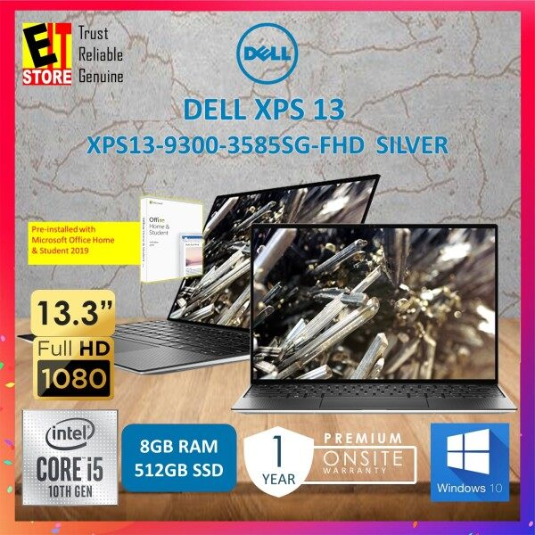"""DELL XPS 13 XPS13-9300-3585SG-FHD  - SILVER (I5-1035G1 /8GB /512GB SSD/13.3"""" FHD /W10/1YR PREMIUM SUPPORT) + OFFICE HOME & STUDENT 2019 Malaysia"""