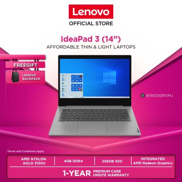 Lenovo IdeaPad 3 | 81W000RXMJ| 14 Platinum Grey|Athlon 3150U|4GB|256GB|W10H|1YR WARRANTY|FOC: BACKPACK Malaysia