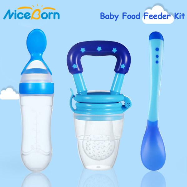 NiceBorn Bộ 3 dụng cụ giúp bé ăn gồm chai bóp thức ăn, thìa và núm vú giả cho bé gặm - INTL