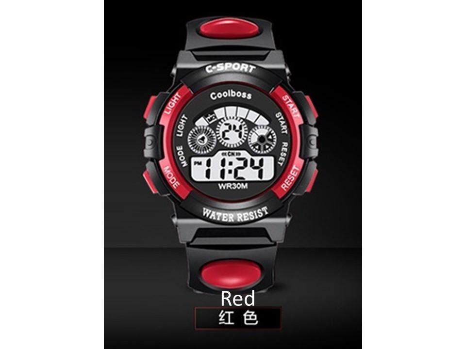 Waterproof Student Children Boy/Girl Kids Digital LED Alarm Date Electronic Quality Sports Wrist Watch (Big), Red Malaysia