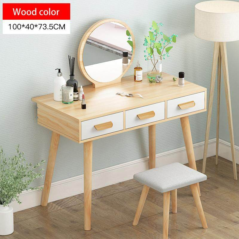 100x40x73.5cm, Dressing Table Solid Wood European Bedroom Dressing Table with Stool,HD mirror, 3 Drawers, Princess Makeup Cabinet Luxury Small Dressing Table