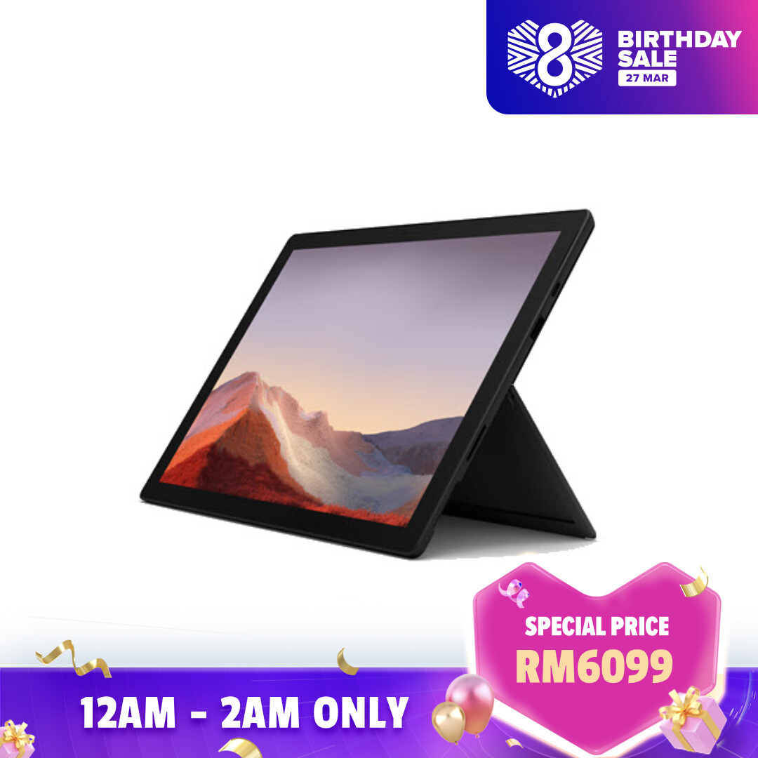 [BUNDLE] Microsoft Surface Pro 7 - Black (i5/8GB/256GB) + Type Cover (Platinum) + Pen (Platinum) + Office 365 Personal Malaysia