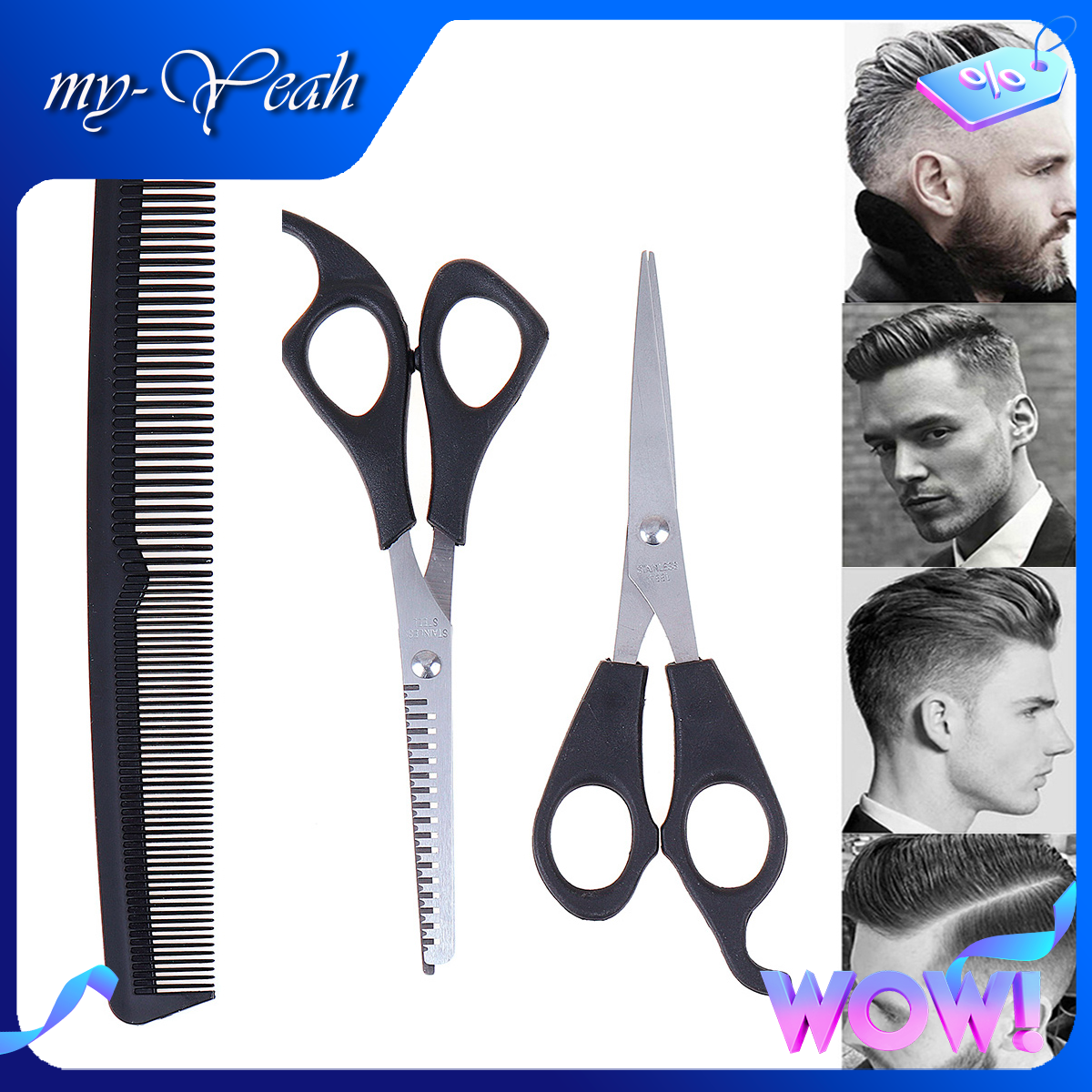 Bộ lược và kéo cắt tóc Myyeah chuyên dụng màu đen phù hợp dùng cho các salon chuyên nghiệp – INTL