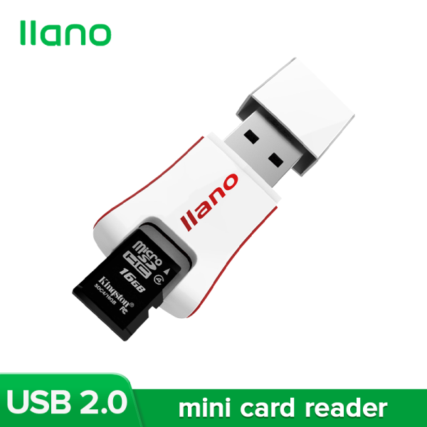 llano White Mini Memory Card Reader Supports TF Card and SD Card for Samsung, Xiaomi and More