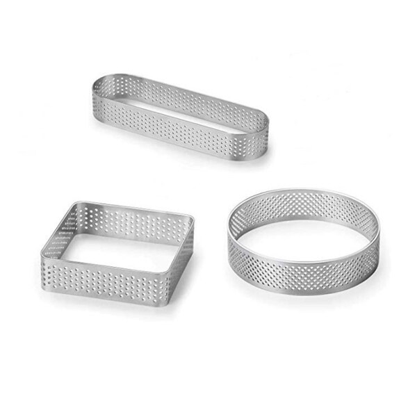 3 Pcs Tart Rings Kitchen Perforated Stainless Steel Baking Tool Mousse Mould Cake Mold for Dessert Shop Home Cafe