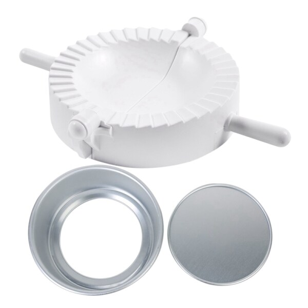 1Pcs White Plastic Hand Press Pierogi Mold Dumpling Mould & 1Pcs 12 Inch Sandwich Cake Baking Tin Pan Mould Box Round Deep Loose Base Bottom Aluminum