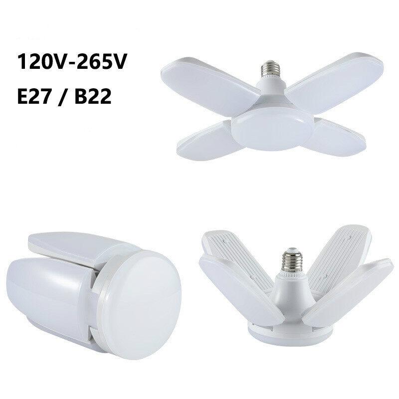 Mới 60W Quạt Xếp Blade LED Đèn Có Dây Treo 120V-265V Đèn LED 360 Độ Có Thể Điều Chỉnh Góc Độ Đèn Trần Thích Ứng E27 B22