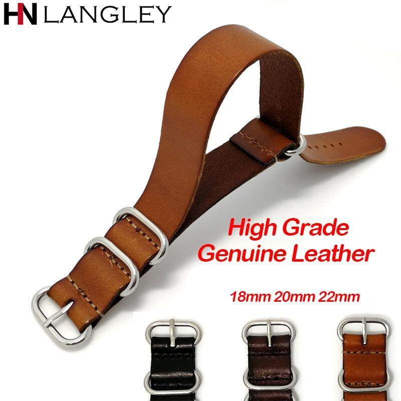 18mm 20mm 22mm New Style Nato Strap Genuine Leather Watch Band NATO Fashion  Leather Straps Zulu Strap Clock Replacement 18mm 20mm 22mm Width