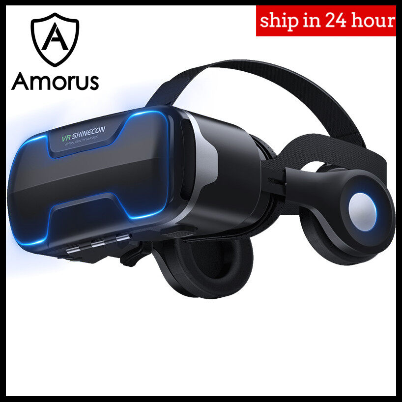 Amorus Vr Shinecon G02ed Blu-Ray Vr Virtual Reality 3d Glasses Box Stereo Vr Google Cardboard Headset Helmet For Ios Android Smartphone.