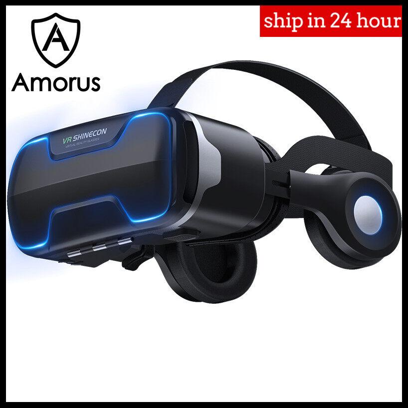 AMORUS VR Shinecon G02ED Blu-ray VR Thực Tế Ảo 3D Hộp Kính Stereo VR Google Cardboard Tai Nghe Mũ Bảo Hiểm Dành Cho IOS Android điện Thoại Thông Minh