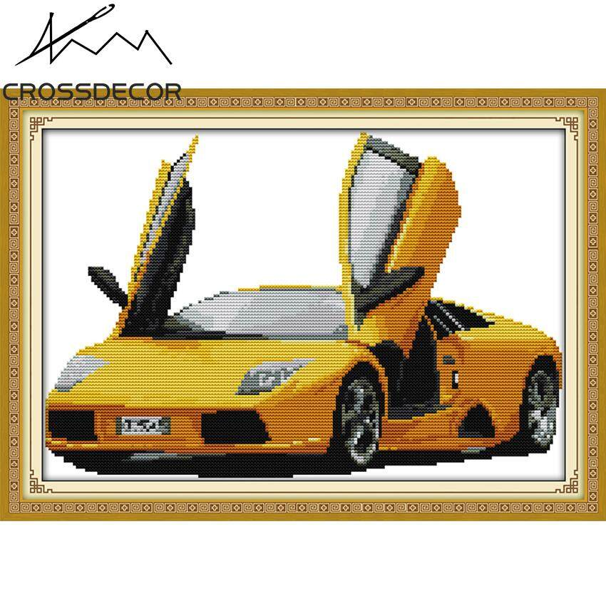 Yellow Car Stamped Cross Stitch Set Mediterranean Landscape 11CT DIY Handmade Embroider Needlework DMC Threads Complete Kits Pattern Pre-Printed On the Cloth Home Room Decor