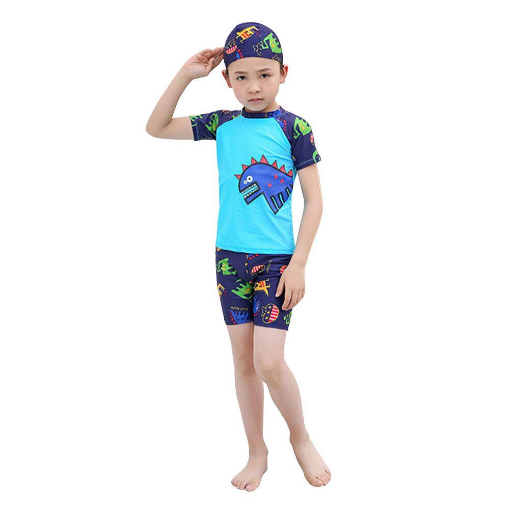 50df1c1784 Three-piece suit children's swimwear boys baby swimwear swim trunks swimming  cap