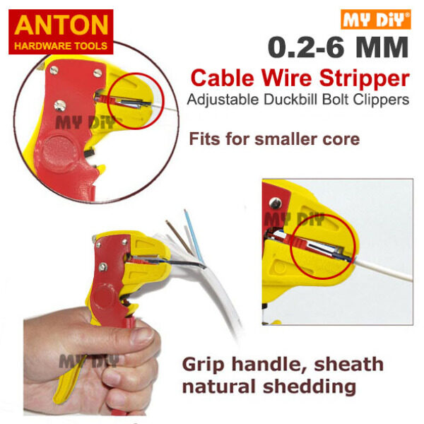 MYDIYHOMEDEPOT - ANTON Automatic Wire Stripper and Cutter Tool 2 in 1 for Flat Ribbon Cable Wire and Electrical Automotive Repair Adjustable Automatic Cable Wire Stripper With Cutter Duckbill Bend Nose Bolt Clippers Wire Stripping Tool High Quality