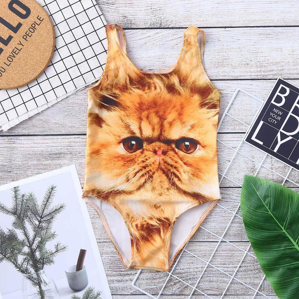 17ec9daab9b TCTTheOne Toddler Baby Kids Girl Cat Print Swimwear Swimsuit Beach Romper  Clothes swimming suit girl