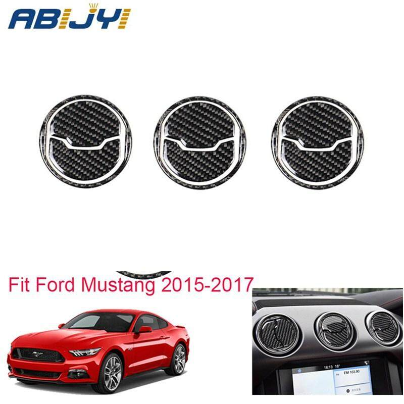 Real Carbon Fiber Car Door Air Outlet Vent Cover Trim For Ford Mustang 2015-2017