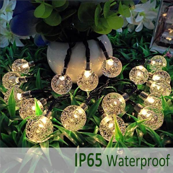[[Chinatera] 50 Đèn LED 10 M Pha Lê Bóng Đèn Năng Lượng Mặt Trời Ngoài Trời IP65 Chống Thấm Nước Dây Cổ Tích Đèn Năng Lượng Mặt Trời Vòng Hoa Cho vườn Trang Trí Giáng Sinh Đạo Cụ Chụp Ảnh