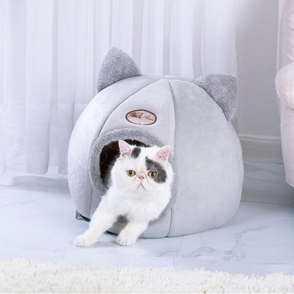 GIƯỜNG NẰM Cho Mèo Cưng Có Thể Gập Lại Và Tháo Rời Cw】 Tự Làm Ấm Cho Nhà Cho Chó Mèo Trong Nhà Với Nệm Chó Con Lồng Lounger Xám Ropa Para Perro Drop