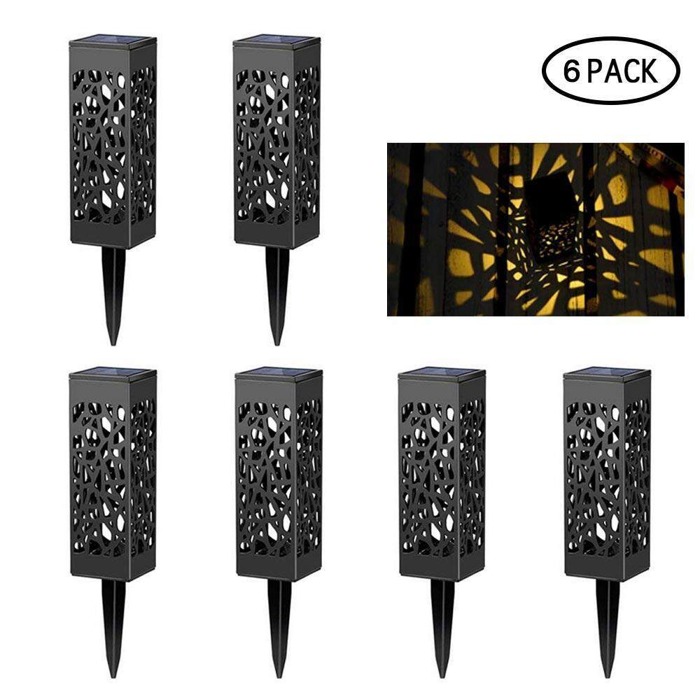 G&B Good Breeze Set of 6 Solar Powered LED Garden Lights, Hollowed-out Automatic Led Lamp for Patio, Yard and Garden