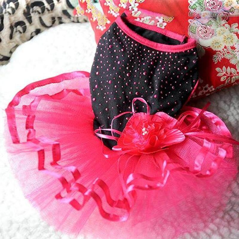 Fuwen®Họa Tiết Cún Cưng Hoa Hồng Đầm Xòe Lưới Dệt Váy Cún Con Mèo Trang Phục Công Chúa Trang Phục
