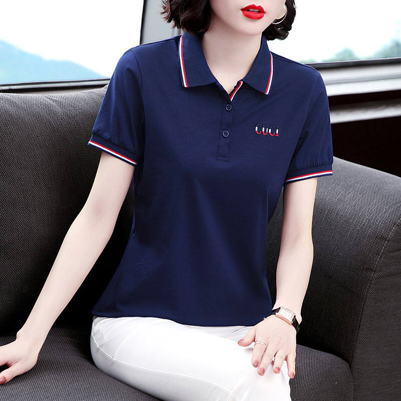 Áo Thun Nữ, Áo Thun Ngắn Tay Mới Mùa Hè 2021 Áo Polo Có Ve Áo Thường Ngày Thời Trang Hàn Quốc