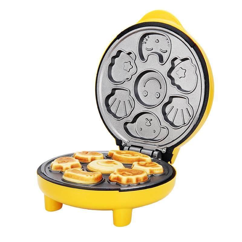 Household Cake Machine Mini Children Bread Machine Double-sided Heating Baking Machine(Yellow)