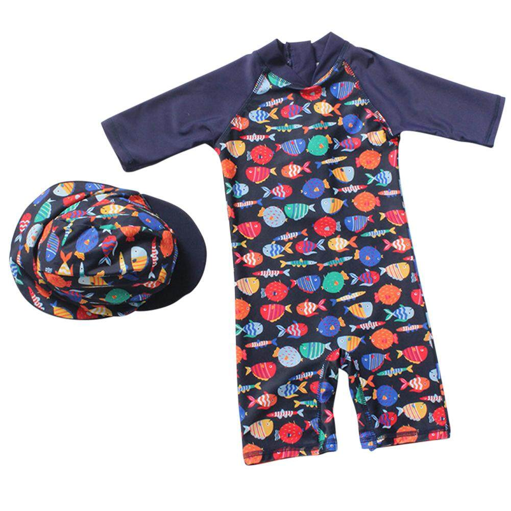 84484d663c Boy cartoon print swimsuit hot spring one-piece swimsuit + boxer swimming  cap set