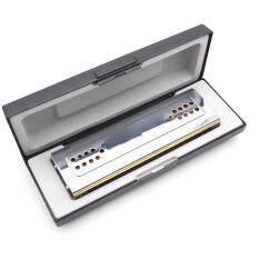 Thiên Nga 2-Trong-1 Dual-Hai Mặt Kèn Harmonica Tremolo Kèn Ác Mô Ni Ca Màng Cứng Key Của C & G 24 Lỗ Kép Sậy Nhạc Cụ Gió Với Độn Hộp Khăn Lau