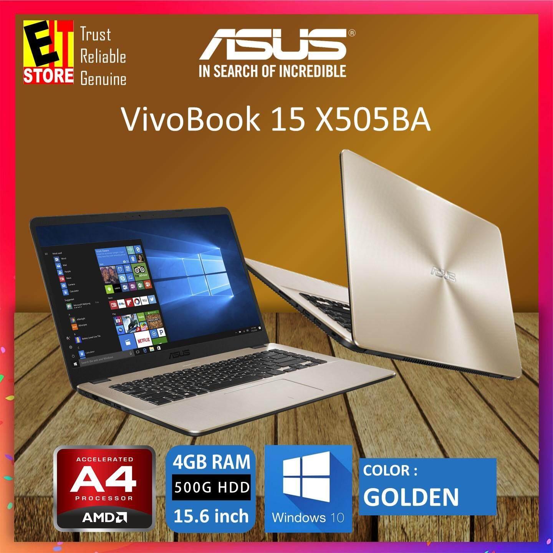 ASUS VIVOBOOK X505B-ABR395T GOLDEN (AMD A4-9125/4GB/500GB/15.6/W10/1YR) + BAG Malaysia