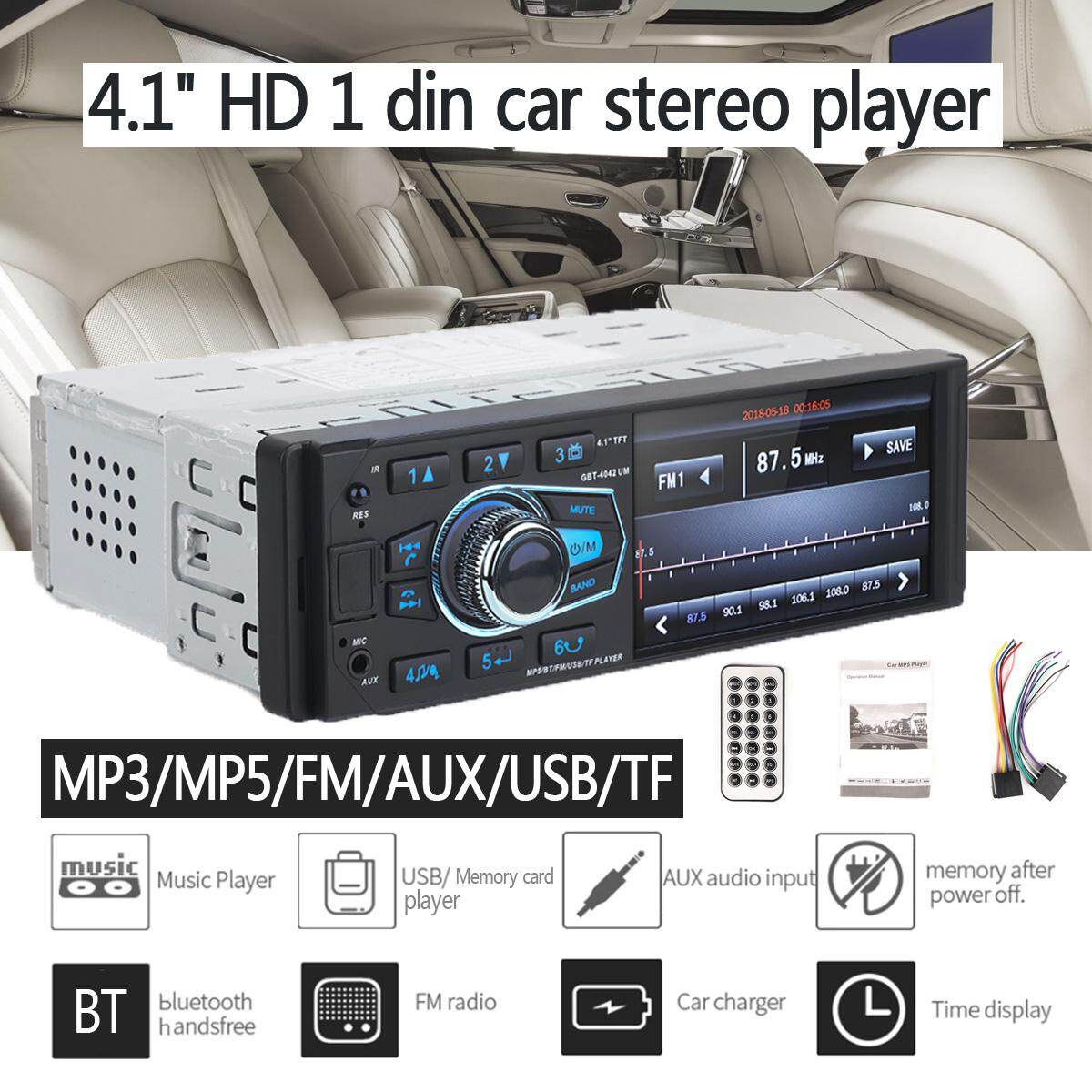 "4.1"" HD 1DIN Car Stereo MP3 MP5 Player bluetooth FM Radio AUX USB SD TF"