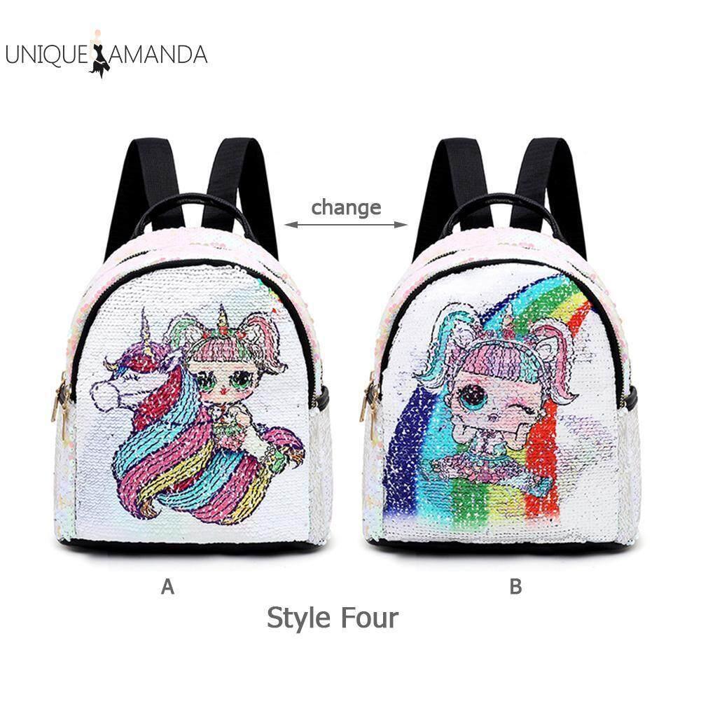Women Children Girl Parent-Child Bag Sequins Cartoon Print Backpack