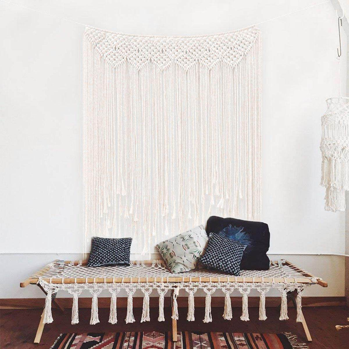 Macrame Wall Hanging 100 x 115cm Cotton Handmade Woven Wall Tapestry Large Boho Wedding Backdrop Wall Decoration for Living Room