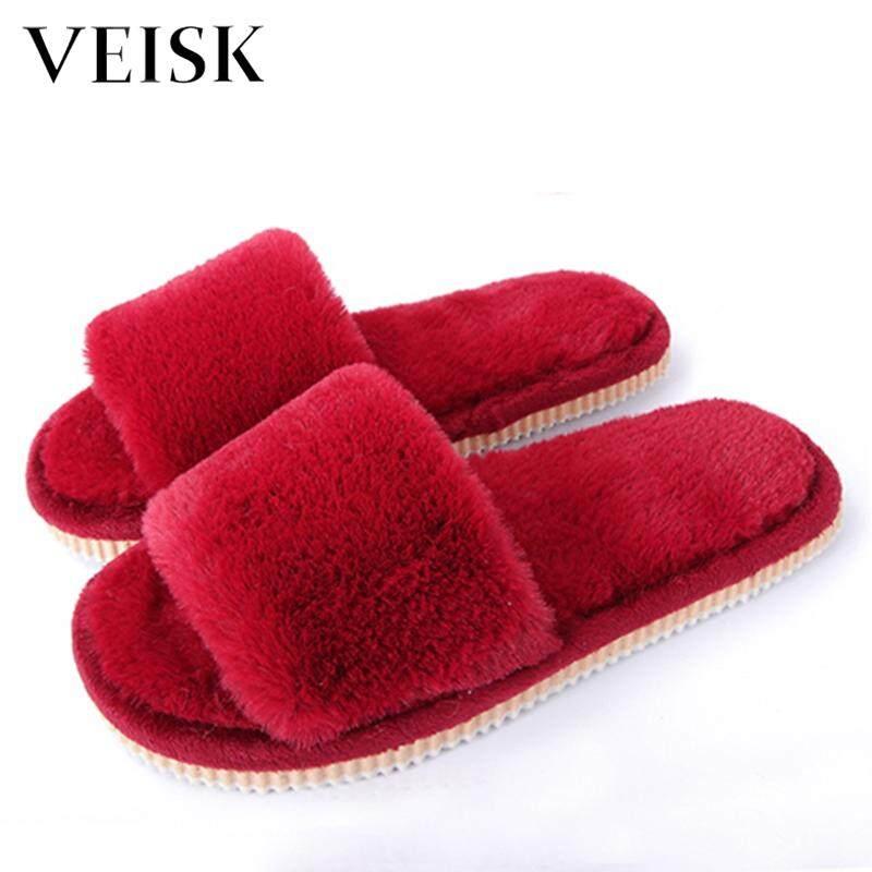 12955022a232c VEISK 2018 Womens Fur Slippers Winter Shoes Big Size Home Slipper Plush  Pantufa Women Indoor Warm