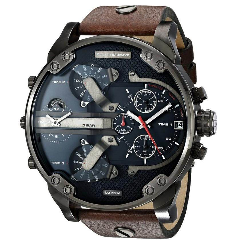 Luxardo Gunmetal Leather Watch (Brown/Black) Malaysia