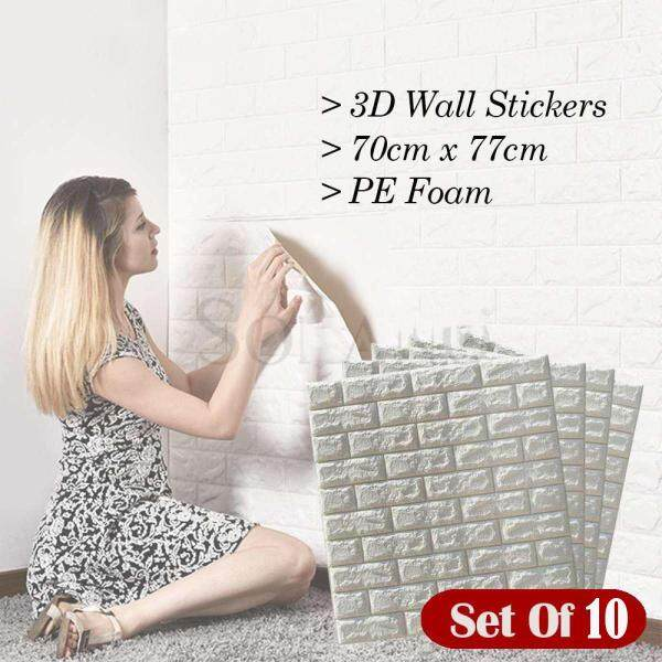 Rising 10PCS/Set 3D Wall Stickers 70X77 CM PE Foam Home Decor Wallpaper Safety DIY Wall Decor Brick Living Room Kids Bedroom Decorative Sticker Self-Adhesive Wall Panels