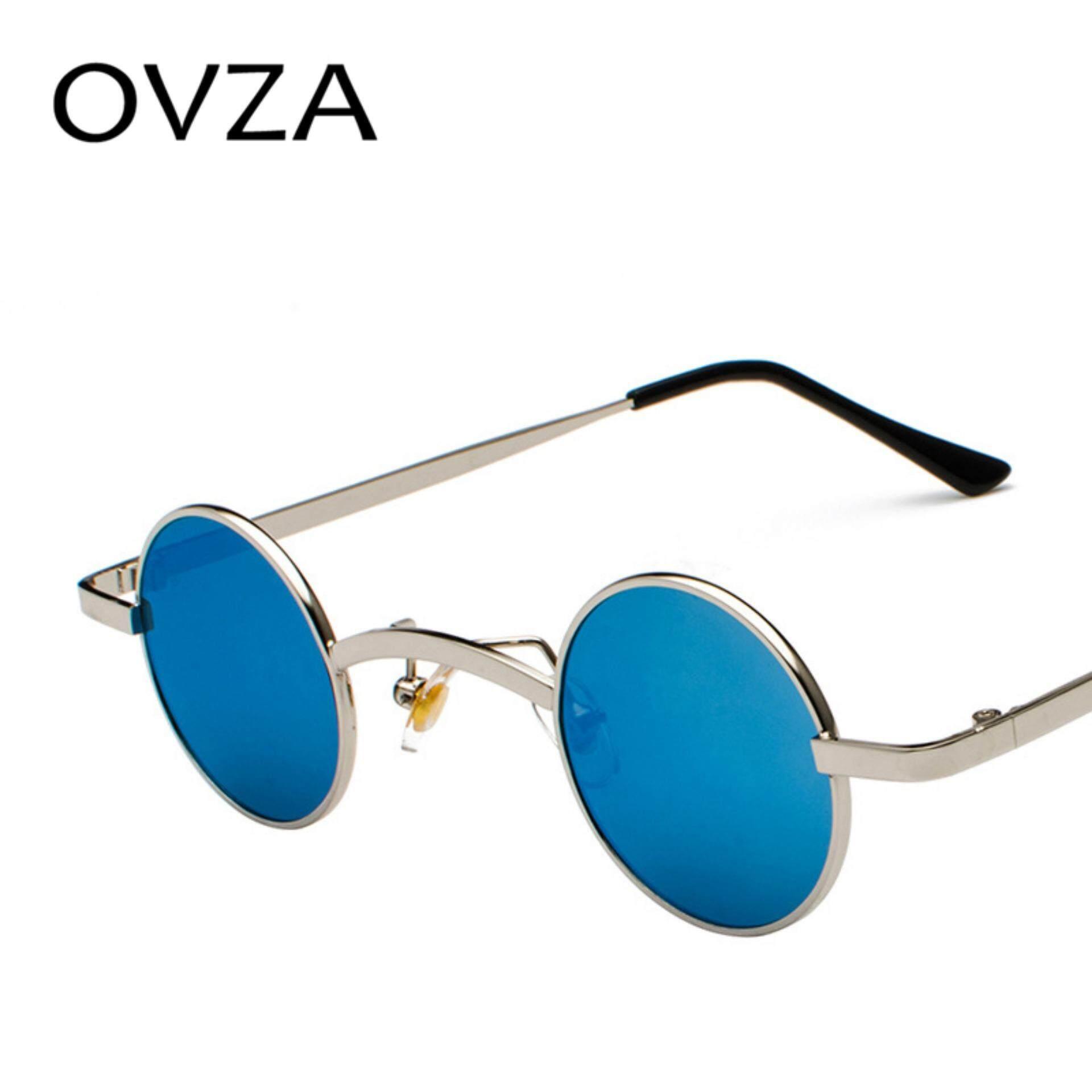 d87cec9a8f7 OVZA Retro Round Sunglasses Mens Brand Designed Women Punk Sunglasses Small  Red Vintage Glasses Mirro Lens