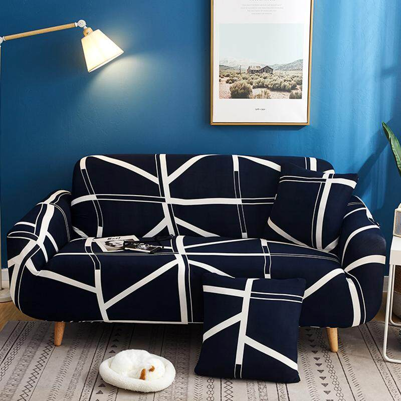VF New 1/2/3/4 Seater All Covered Elastic Universal Sofa Cushion Cover Set Sofa Cover Stretch Sofa Cover Sofa Cloth with 1 Free Pillow Cover