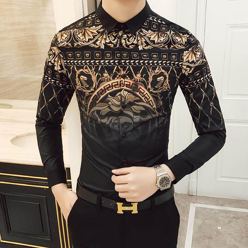 2019 Mens Gold Shirts Social Club Shirt Autumn Luxury Baroque Shirts Camisa Slim Fit Black Gold Mens Designer Shirts 3xl 4xl By Breaking Point Store.