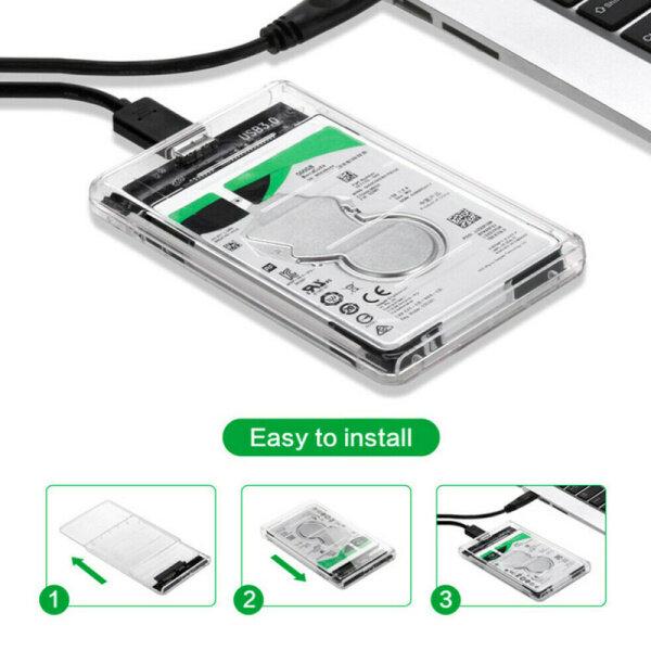 Giá Hộp Đựng Ổ Cứng USB3.0 Trong Suốt 2.5 Inch, Công Cụ Kèm Ổ Cứng UASP Miễn Phí, H2Y7