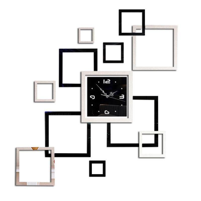 DIY Acrylic 3D Mirror Wall Clock Wall Sticker Modern Design Large Mirror Wall Clock for Living Room Bedroom Home Decor